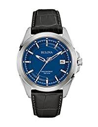 Bulova Men's Quartz Stainless Steel and Black Leather Dress Watch (Model: 96B257)