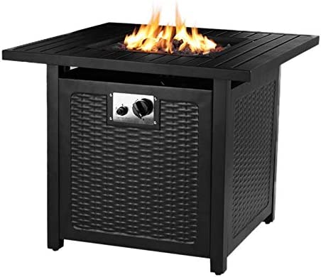HEMBOR 28 Propane Gas Fire Pit Table, 50,000 BTU Square Fire Bowl, Outdoor Auto-Ignition Fireplace with Waterproof Cover, Lava Rock, CSA Certification, for Garden, Patio, Courtyard, Balcony