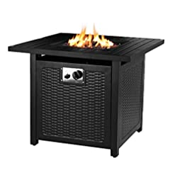 Fire Pits HEMBOR 28″ Propane Gas Fire Pit Table, 50,000 BTU Square Fire Bowl, Outdoor Auto-Ignition Fireplace with Waterproof Cover, Lava Rock, CSA Certification, for Garden, Patio, Courtyard, Balcony firepits