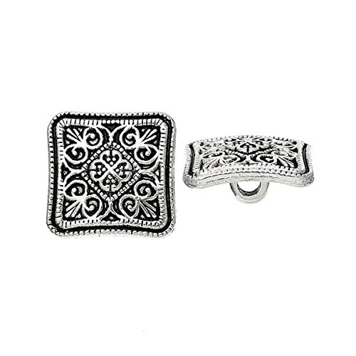 (HOUSWEETY 100PCs Flower Sewing Buttons Square Silver Tone 13x13mm)