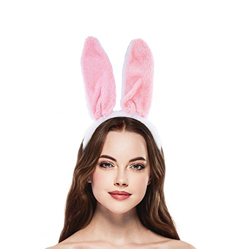 Lux Accessories Pink White Fuzzy Bunny Ear Halloween Costume Accessory Headband - Fuzzy Bunny Costume