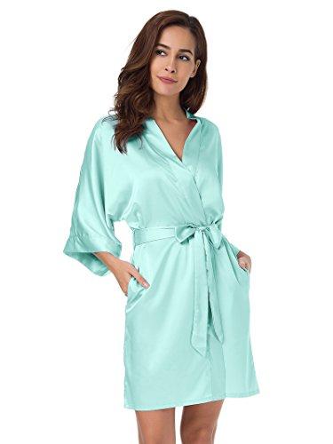 SIORO Kimono Robe Plus Size Bridesmaid Satin Robes Silk Lightweight Nightwear V-Neck...