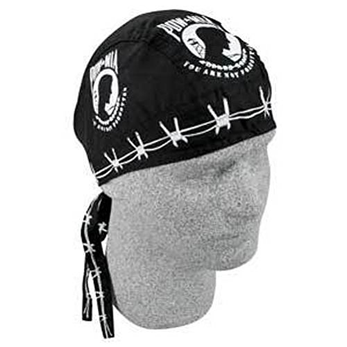 Black with Barbed Wire and Classic POW MIA Large Logo Doo Rag Headwrap Skull ()