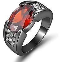 sirimongkol Size 8,9,10,11,12 Solitaire Red Garnet Fashion Black 18K Gold Filled Mans Rings (8)