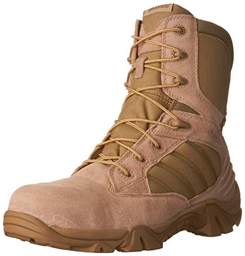 Tan Safety Steel Toe Boots - Bates Men's GX-8 8 Inch Ultra-Lites Zip Uniform Work Boot, Desert, 10.5 M US