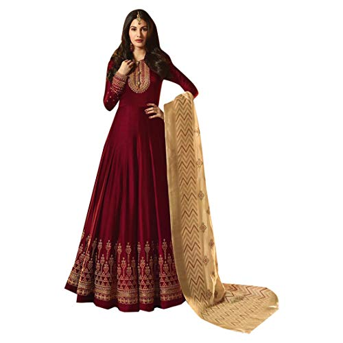 Maroon Abaya Designer 7514 Anarkali Vestono Musulmane Bollywood Ethnic Kameez Wedding Lunghe Donne Salwar Indian HWbeEY29ID