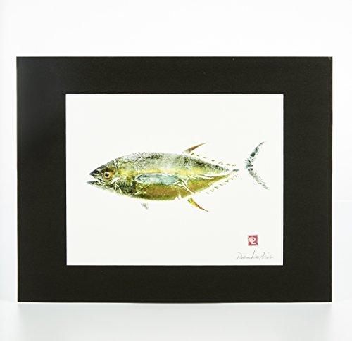 Matted Gyotaku Hawaiian Fish Print:Ahi Tuna (11 x 14)