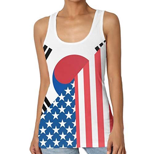 (LINSHANGYI American and South Korea Flag Women's Tank Tops Sleeveless T-Shirts Tees Workout Racerback Vest Blouse Black)