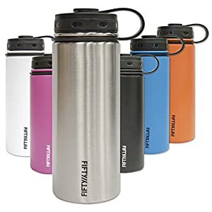 Fifty/Fifty Orange Vacuum-Insulated Stainless Steel Bottle with Wide Mouth - 18 oz. Capacity