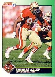 1991 Score Football Card #250 Charles Haley Mint