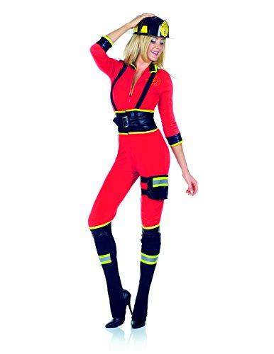 Smokin Hot Firefighter Costume (Underwraps Women's Three Alarm, Red/Black,)
