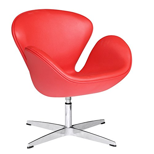 Designer Modern Swan Chair in Red Leather
