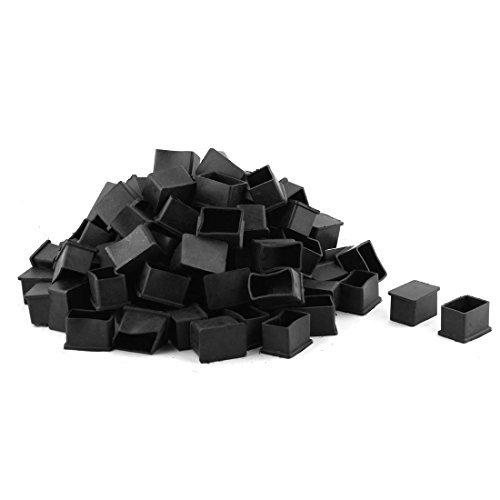 eDealMax Caoutchouc Rectangle Forme Meubles Table couverture Pied Cap 38mm x 25 mm 100 Pcs Noir