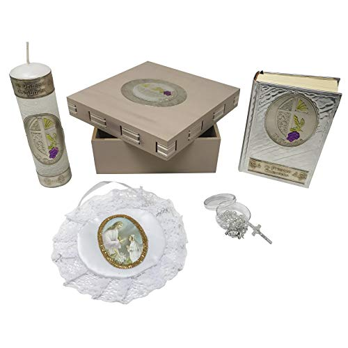 Wooden Bible Box - Arcángeles Mexicanos Premium Catholic First Communion Kit in a Wooden Box with Candle, Rosary, Bible (Spanish) and Almoner for Girls. Handmade in Mexico Gift for Godparents. Kit de Primera Comunión.