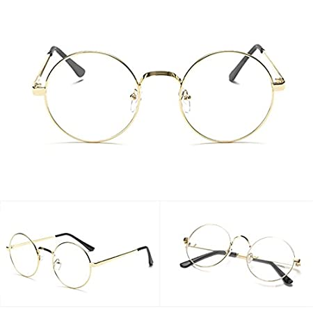 9d0e19d6af Lamdoo Chic Eyeglasses Retro Big Round Metal Frame Clear Lens Glasses Nerd  Spectacles (Gold)  Amazon.co.uk  Kitchen   Home