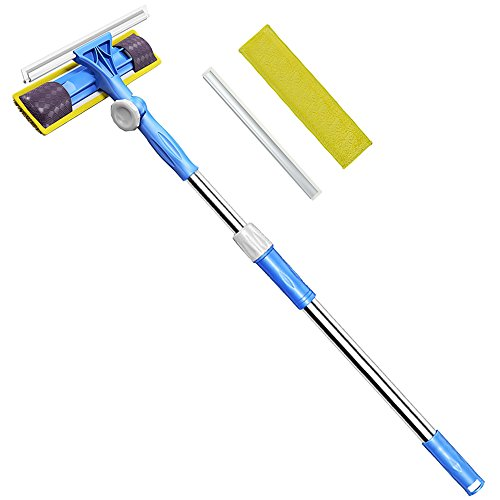 Professional 3-in-1 Window Squeegee -Microfiber Extendable Window Scrubber Washer Cleaner Tools Kit 180 Rotatable Window Cleaning Squeegee for High Window, Car or Shower