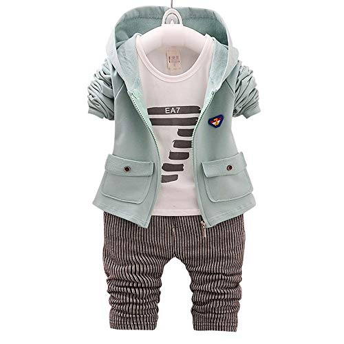 Hopscotch Green Text Print Vertical Stripes Full Sleeves T-Shirt Hoodie and Pant Set