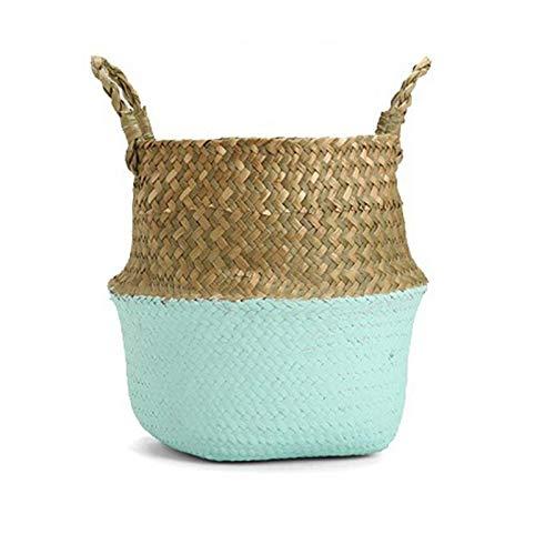 Best Quality - Flower Pots & Planters - 27x23cm Hand Knitting Flower Basket Woven Belly Storage Basket Seagrass Flowerpot - by - 1 PCs