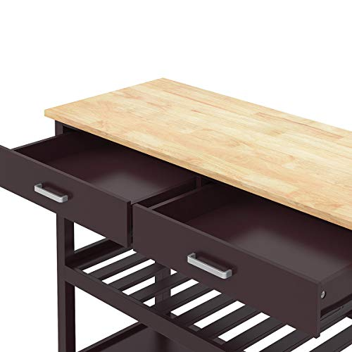 Clevr Rolling Kitchen Cart Island on Wheels Trolley, Cabinet w/Drawer, Shelves Storage Shelf, 100% Natural Rubberwood Top, Walnut Colored by Clevr (Image #4)