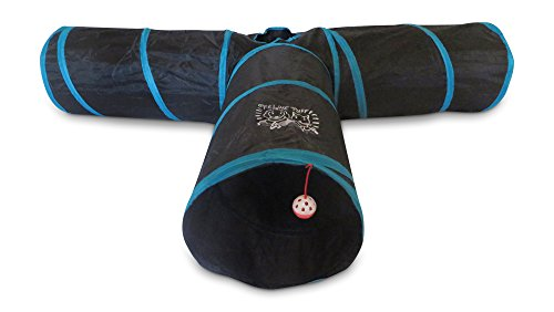 Premium 3 Way Cat Tunnel - Extra LARGE And Extra LONG - By Feline Ruff. Big Collapsible Play Toy - Premium Tube for Rabbits, Kittens, Large Cats, And Dogs (Blue)