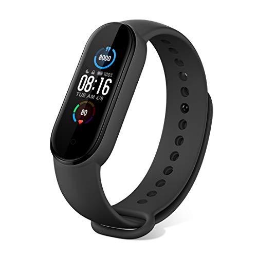 """Xiaomi Mi Band 5 Smartwatch Activity Tracker Fitness met 1,1 """"AMOLED-kleurenscherm Calorie/Hartslagmeter/50m Waterdicht/ Bluetooth 5,0/Pols hartslagmeter/Stappenteller/Slaapbewaking/Foto maken- Zwart"""