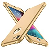 iPhone 8 Case, iPhone 7 Case, with[2 x Tempered Glass Screen Protector] ORETech 360° Full Body Shockproof Protection Cover Ultra-Thin Hard PC + Soft Rubber Silicone for iPhone 7/8-4.7'' -Gold