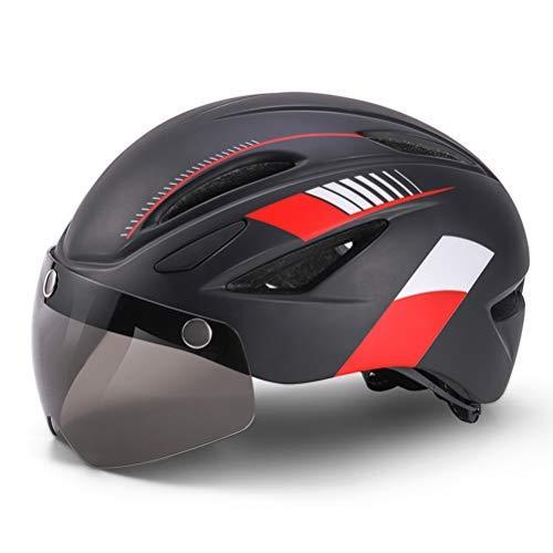 Fietshelm met afneembaar vizier, fietshelm magnetische bril vizier en LED-achtergrondverlichting fietshelm voor fietsen…