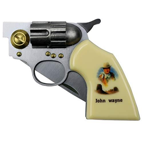 "GREATHOPES John Wayne 7.5"" Gun Folding Knife Stainless Steel Revoler Style"