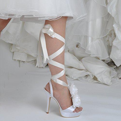 Kevin Fashion gymz670Ladies flores lazo satinado novia boda plataforma sandalias, color Blanco, talla 43 EU