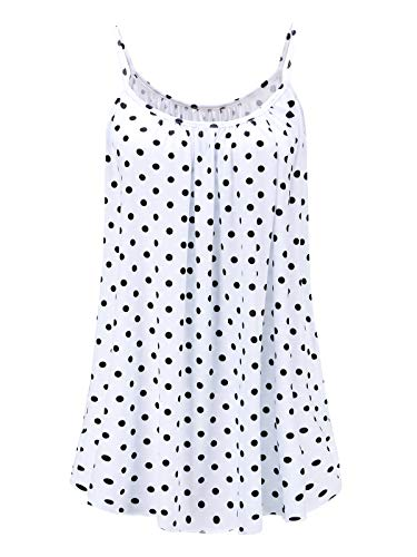 (7th Element Womens Plus Size Cami Basic Camisole Tank Top (White Polka Dot,1XL))