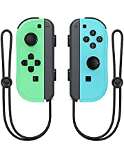 Wireless Switch Joycon Controllers, D.Gruoiza Joy Con Controller Compatible for Switch Support Wake-up Function with Wrist Strap(Green and Blue)