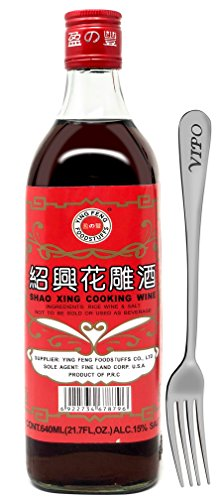 SHAOHSING RICE COOKING WINE 640ML(21.7 Fl, OZ) (Ying Feng Brand) Comes With Free Vipo Fork. (1 Bottle)