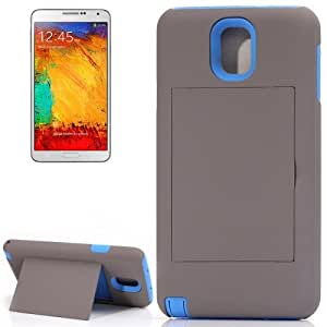 Silicone + Plastic Combination Case with Holder for Samsung Galaxy Note III / N9000 (Grey + Blue)