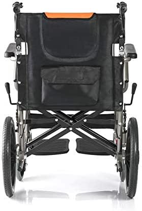 WAZMM Compact Transport Wheelchair, self propelled Comfortable Portable Wheelchair with Running with Brakes, Removable Footrests, Armrest