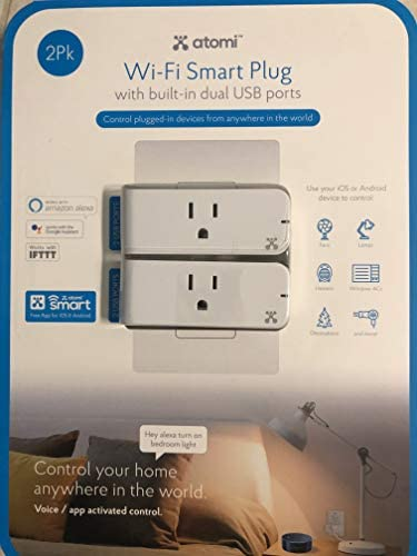 Wi-Fi Smart Plug WITH BUILT-IN DUAL USB ports 2PACK
