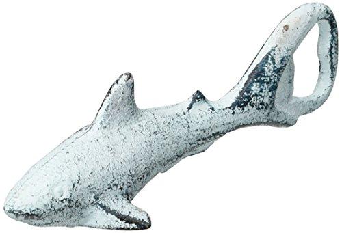 Hampton Nautical Cast Iron Shark Bottle Opener, 6″, Dark Blue/Whitewashed