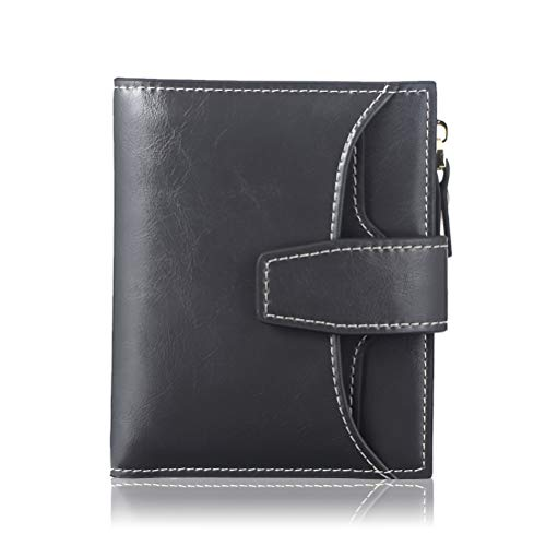 - FT FUNTOR RFID Leather Wallet for women,Ladies Small Compact Bifold Pocket Wallet with id Window Grey