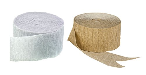Gold Metallic and White Crepe Paper Streamers, 290 Feet Total, Made in USA