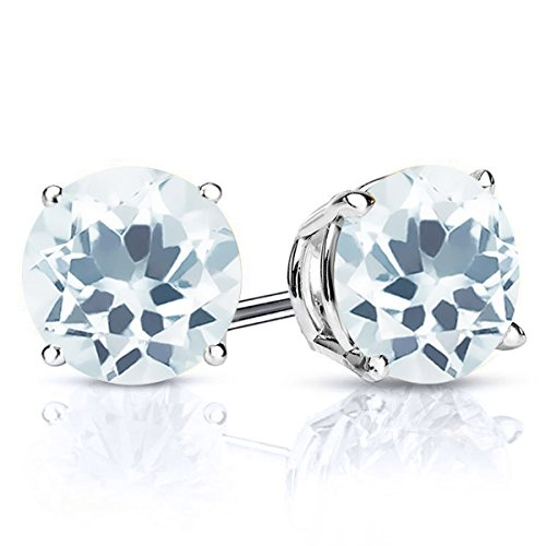 0.90 Ct Round 5mm Sky Blue Aquamarine 925 Sterling Silver Women's Stud Earrings