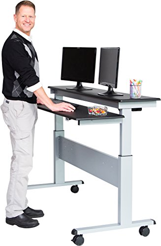 60 split top electric stand up desk black shelves