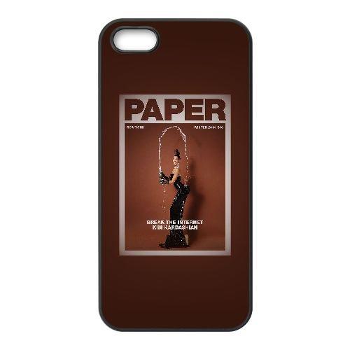 T8T82 hd Kim Kardashian papier art sexy nue R7P5VU coque iPhone 5 5s cellulaire cas de téléphone couvercle coque noire KQ8OPJ0KN