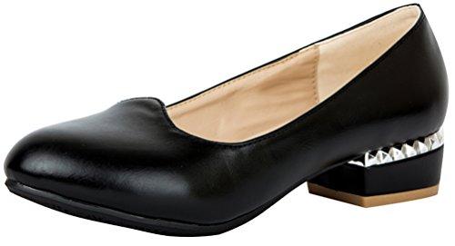 Abby 5501 Femmes Plat Moderne Confort Pompes Détente Partie Ronde Orteil Fermé Bout Fermé Talon Bas Slip-on Chaussures De Danse Noir