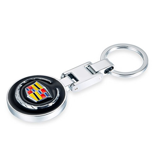 Deselen EBS-BT13-3.5cm Round Car Key Chain for Cadillac, One Sided Logo w/Black Background, Mirror Polished Stainless Steel Ring