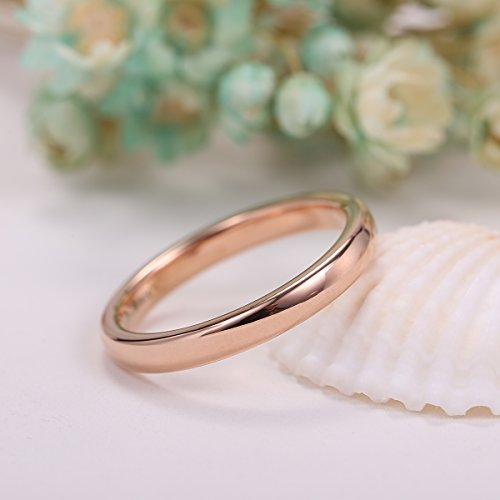 NaNa Chic Jewelry 3mm Tungsten Carbide Ring Domed Wedding Band Rose Gold Plated Comfort Fit(5.5) Photo #2