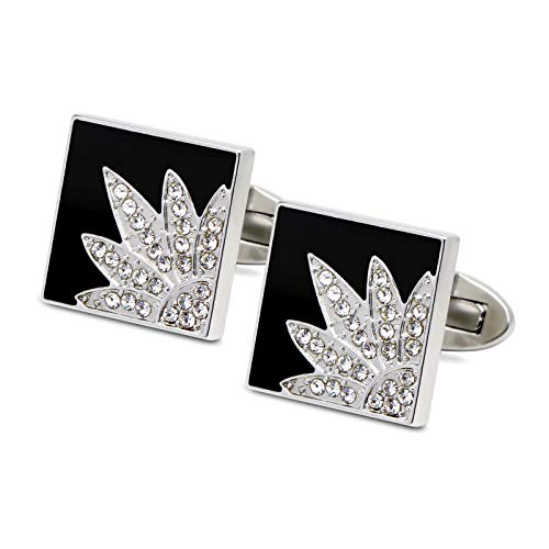 (VIILOCK Luxury Swarovski Crystal Square Black Cufflinks for Men Flower Pattern French Cuff links Business Wedding Gift)