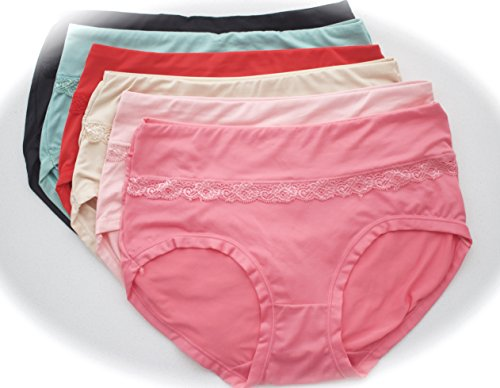 Modal cotton panties lace trim pack of 6 (Large)