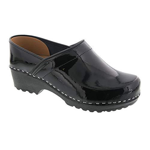 Bjork Karin Swedish Women's Pro Black Patent Leather Clogs (EU-40)