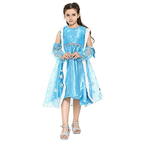 Katara (KATQR) Disney Frozen Elsa costume dress with cloak for girls (6-7 Years)