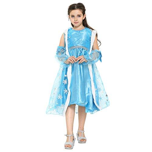 Katara (KATQR) Disney Frozen Elsa costume dress with cloak for girls (6-7 Years)