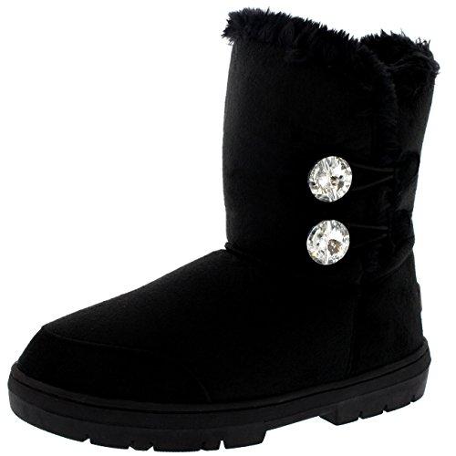 Mujer Twin Diamond Button Short Fur Impermeable Invierno Rain Nieve Botas Negro